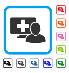 computer doctor framed icon vector image