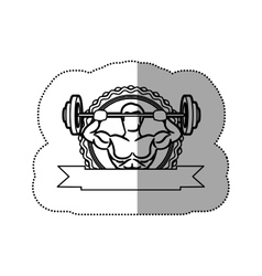 Contour sticker frame with muscle man lifting a vector