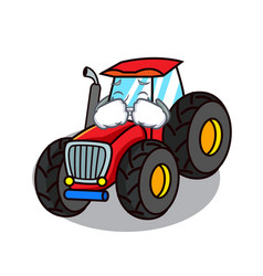 Crying tractor mascot cartoon style vector