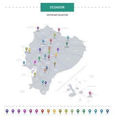 Ecuador map with location pointer marks vector