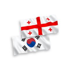 Flags south korea and georgia on a white vector