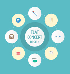 Flat icons tooth seal artificial teeth radiology vector