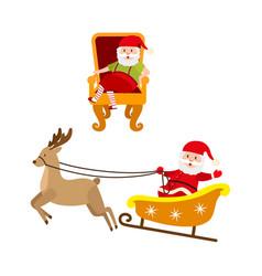 Flat santa claus scenes set vector