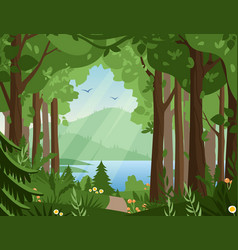 Forest landscape flat vector