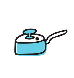 fry pan skillet doodle icon isolated on vector image