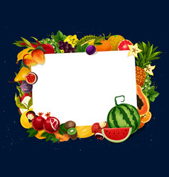Garden and tropic fruits harvest blank note vector