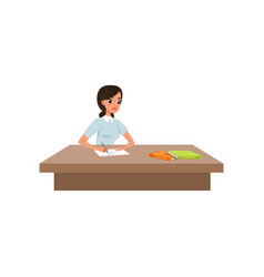 girl sitting at the desk and writing student in vector image
