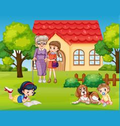 Girls with grandmother in garden vector