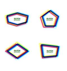 glitch frame set pentagon hexagon rhombus polygon vector image