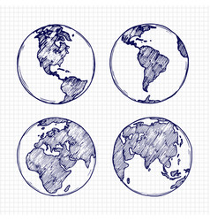 globe sketch hand drawn earth planet vector image