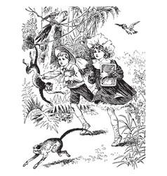 Going to school in monkey-land vintage vector