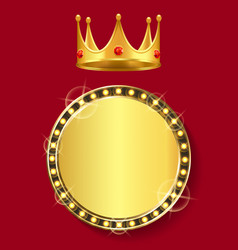 golden banner with empty space crown with gem vector image