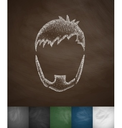 Hairstyle and beard icon vector