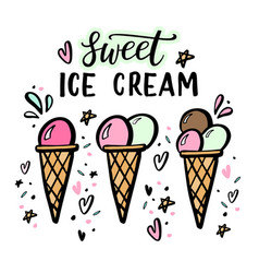 Hand drawn of ice cream with hand vector