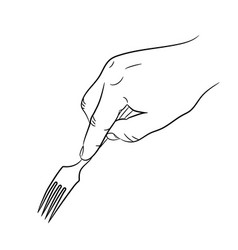Hand holding a fork on white background vector