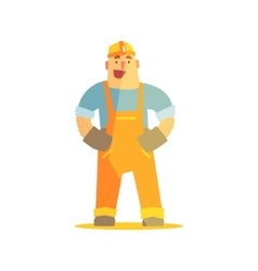 Happy Builder On Construction Site vector image