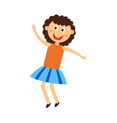 Happy kid girl dancing jumping and having fun vector