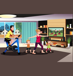 Healthy family exercising together vector