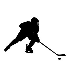 hockey striker owns the puck silhouette vector image