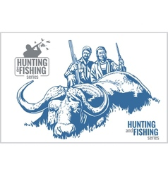 Hunting and fishing vintage emblem vector image