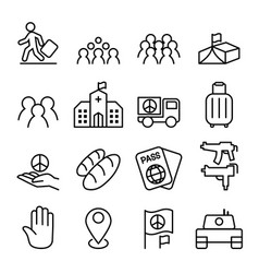 immigration refugee icon set in thin line style vector image