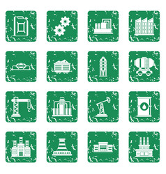 Industry icons set grunge vector