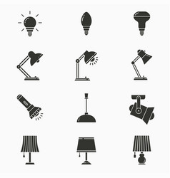 lighting icon set isolated on white vector image