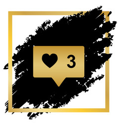 like and comment sign golden icon at vector image