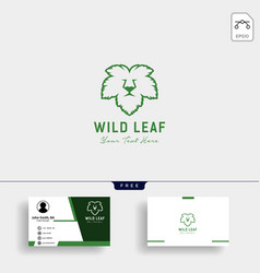 lion wild leaf logo template with business card vector image