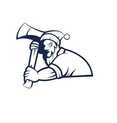 Logger mascot logo outline version lumberjack vector