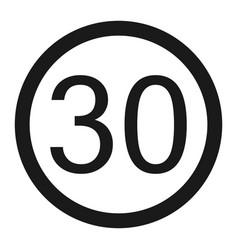 Maximum speed limit 30 sign line icon vector