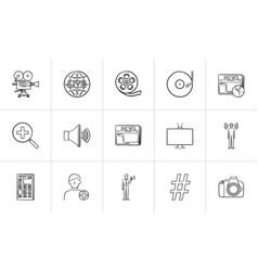 media hand drawn sketch icon set vector image