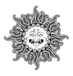 medusa gorgon head in flame hand drawn line art vector image