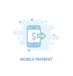 mobile payment line concept simple line icon vector image