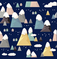 Mountain seamless pattern flat style vector