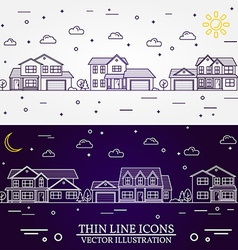 Neighborhood with homes white and purple vector