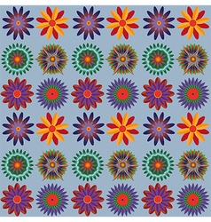 Orange Blue Green Flower Pattern vector