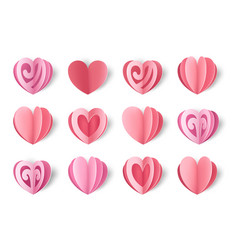 Paper hearts valentine s day decorative elements vector