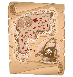 Parchment with treasure map 1 vector
