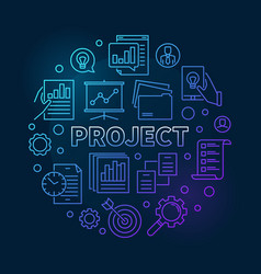 project round business concept blue outline vector image