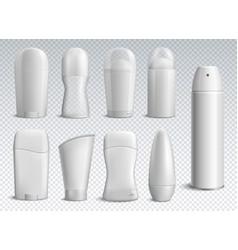 realistic deodorant bottles transparent set vector image