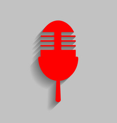 retro microphone sign red icon with soft vector image