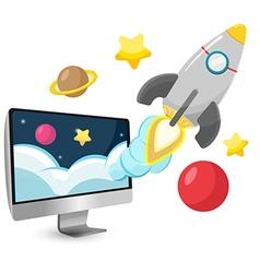 Rocket Start Project Cartoon vector