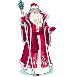 Russian Christmas Character Father Frost in red vector