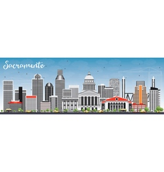 Sacramento Skyline with Gray Buildings vector image vector image