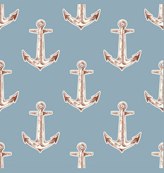 seamless vintage pattern with anchor vector image