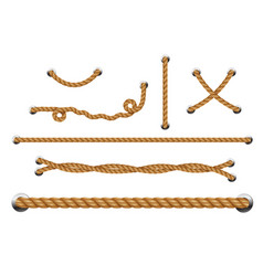 set looped ropes with metal holes rope threads vector image