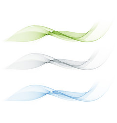 Set of abstract color wave smoke transparent blue vector