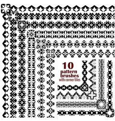 set of geometric black borders in ethnic boho vector image