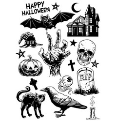 set of hand drawing of halloween objects in black vector image